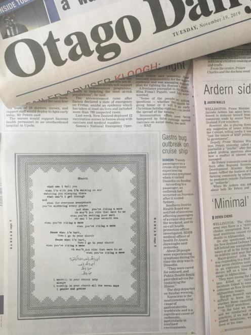 Lyrics from songs on Coldplay's upcoming album were printed exclusively in the Otago Daily Times today. Photo: ODT