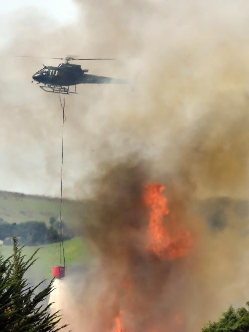 Fire crews work to extinguish the fire on Scroggs Hill Rd yesterday. PHOTO: GREGOR RICHARDSON