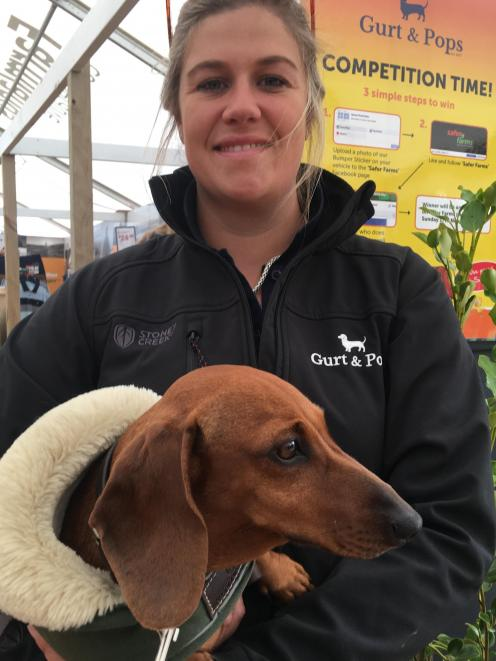 Harriet Bremner and her miniature dachshund Poppy at the New Zealand 
