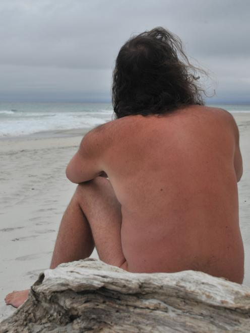 The Dunedin naturist, who wished to remain anonymous, returned to Smaills Beach yesterday after police were called about him on Monday. Photo: Christine O'Connor