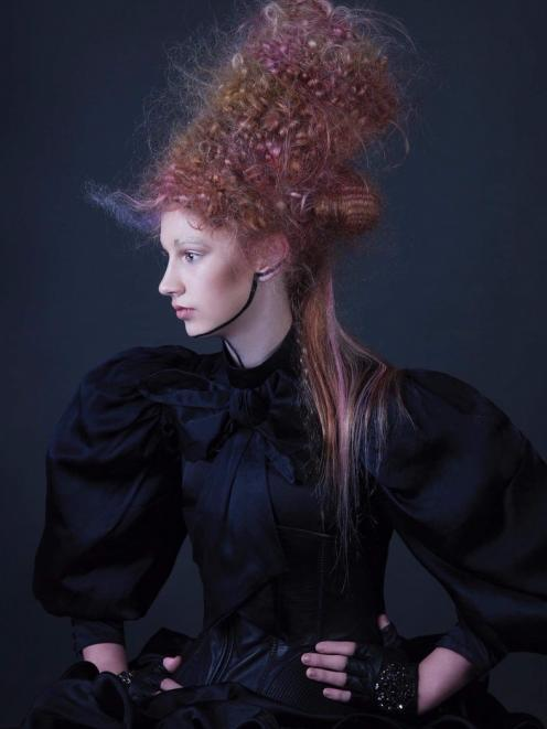 The image of an avant-garde hairstyle, modelled by Dunedin teenager Blaise Perry, which won stylist Kylie Hayes the Derek Elvy Visionary Award at The Industry Awards in Wellington on Sunday. PHOTO: ROSEANNE DONALDSON