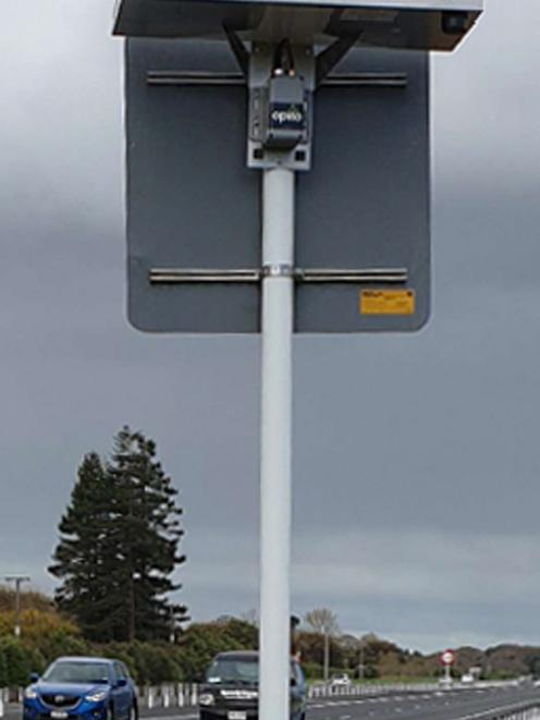 A solar-powered traffic sensor installed in Hamilton. Photo: Supplied