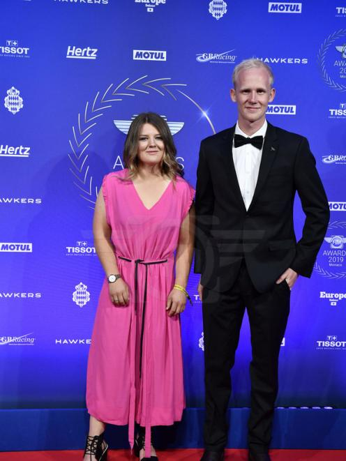 Kiwi riders Courtney Duncan and Hamish MacDonald on the red carpet at the glittering Monte Carlo-hosted FIM Awards ceremony on Sunday. Photo: Fim Awards