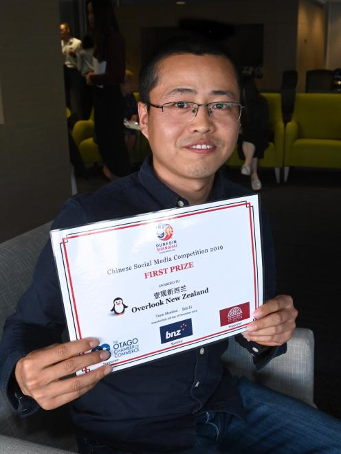 Chinese social media competition winner Eric Li at the award presentation. PHOTO: LINDA ROBERTSON
