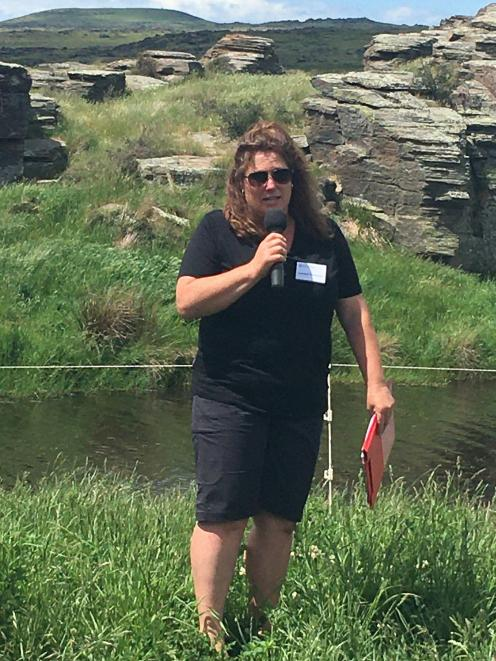 Lynnore Templeton speaks about increasing biodiversity at The Rocks, where freshwater crayfish ...