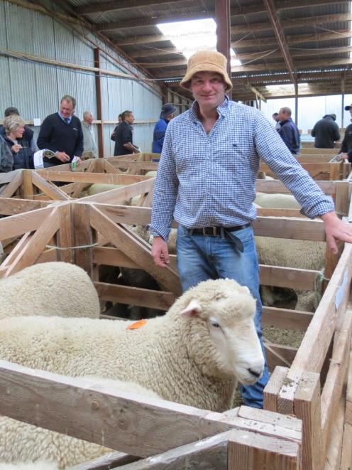 Fourth-generation stud sheep breeder Blair Robertson, from the Merrydowns stud at Waikoikoi, enjoyed a strong on-farm sale in West Otago last week for a catalogue of 229 Romney and Southdown rams.