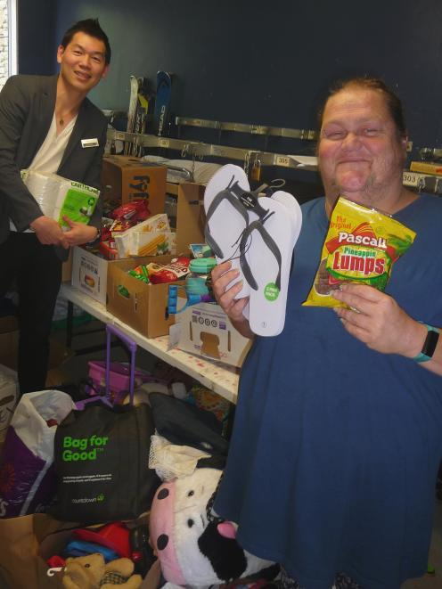 Methven Resort owner Ole Wallis and Wendy White with some of the items already donated by the...
