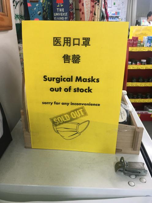 A sign in a Queenstown pharmacy as concern grows over the coronavirus outbreak. Photo: Louise Scott