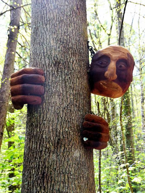 Lyons' sense of humour is evident in the work, The Tree Hugger.