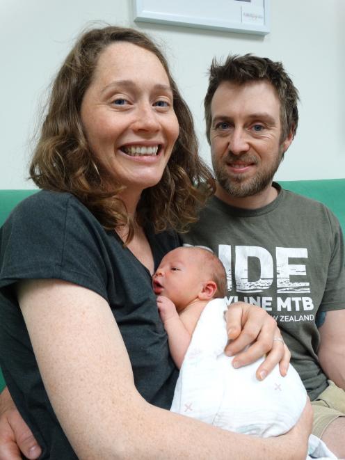 Christina Brady and Ben Marshall with their son Finn, born on New Year's Eve.
