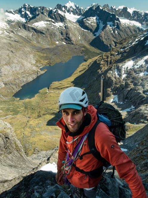 Sarwan Chand on Sabre Peak in Fiordland in 2016.