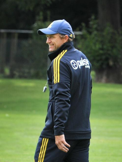 Highlanders assistant coach Tony Brown at training at Logan Park yesterday. Photo: Christine O'Connor