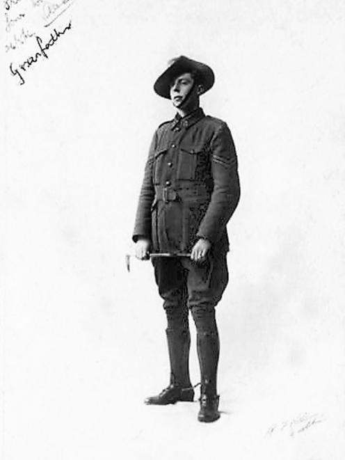 Alexander Don, photographed in 1916, wearing the hat that helped save his life during the Easter...