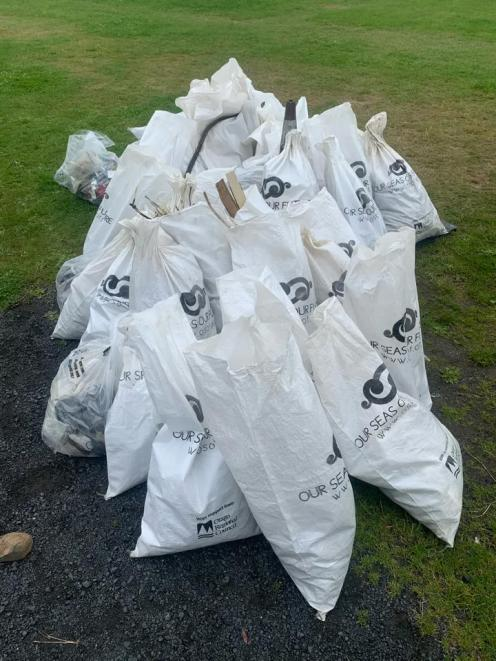 The rubbish bags filled by the students. Photo: Supplied