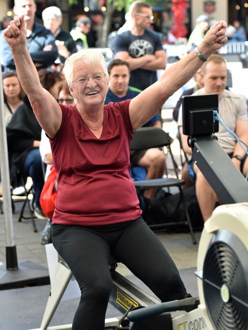 Barbara Sharp is elated after winning her class in the 1000m row. PHOTO: PETER MCINTOSH