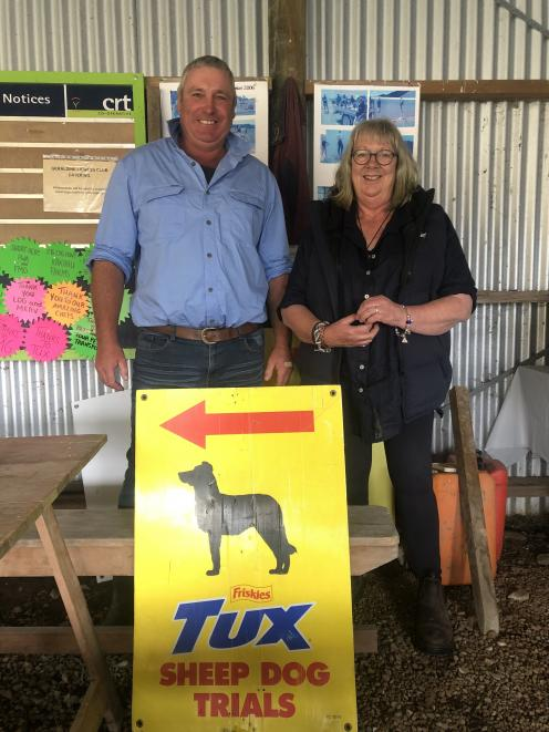 Dog trial judge and competitor Steve Kerr and Canterbury Sheep Dog Trial Association promotions officer Sally Mallinson attend the Hilton-Gapes Valley dog trials. Photo: George Clark