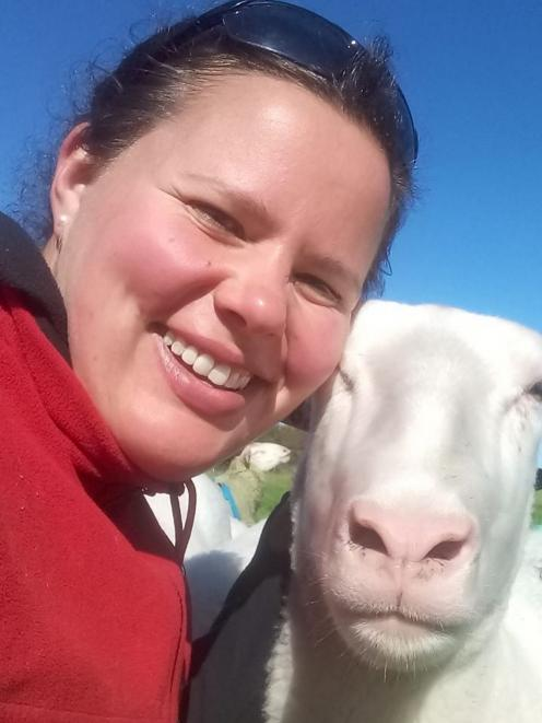 Katrina McMillan takes a selfie with one her East Friesian ewes. PHOTO: SUPPLIED BY KATRINA...