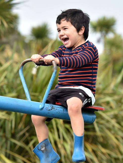 Mahe Fangupo (3), of Dunedin, enjoys the see-saw at Marlow Park playground. PHOTO: PETER MCINTOSH