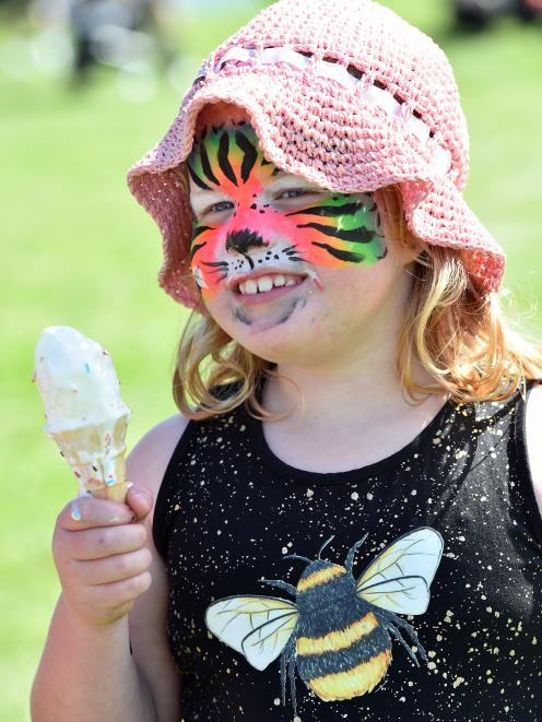 Shelby Fraser (6), of Momona, found a sweet way to cool down at the Mosgiel Party in the Park...