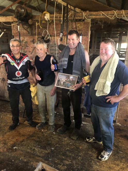 Bob says he has enjoyed working alongside a lot of great people in the East Otago area over the years. Bob is pictured on the left with Davie Warren, Geoff Snell and Wayne Hagan. Photo: Amanda Snell