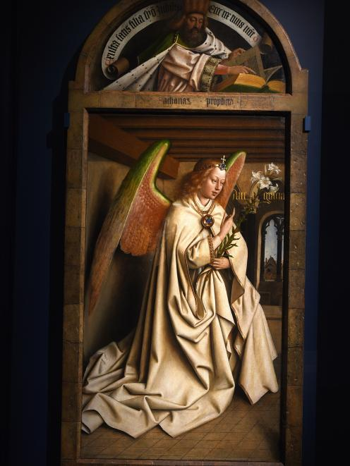 The Archangel Gabriel at the Annunciation, from the interior panels of the Ghent Altarpiece at...