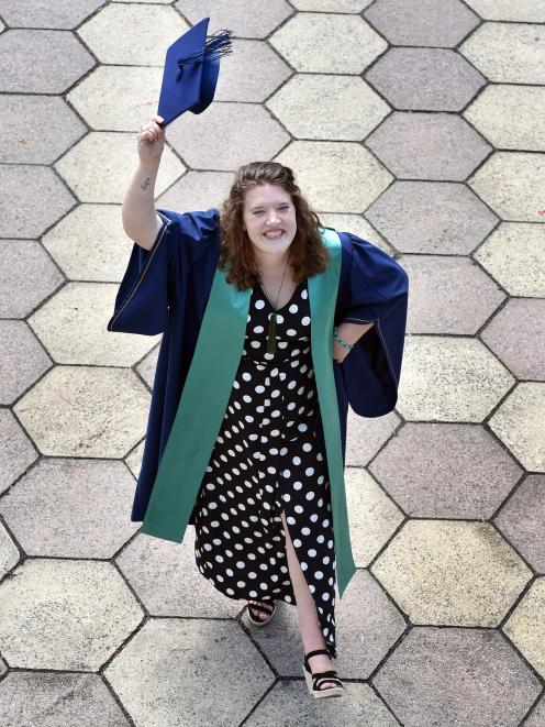Otago Polytechnic student Jema Shaw (23), of Dunedin, will graduate a bachelor of culinary arts...