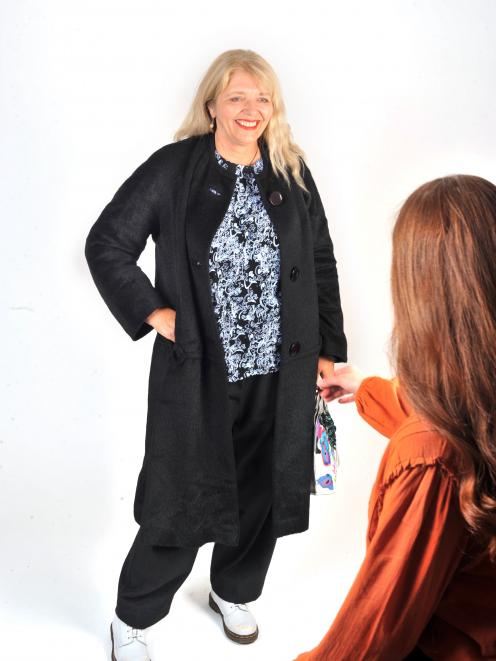 Margot Barton models a jacket. Photo: Christine O'Connor