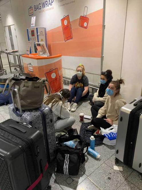 STRANDED: Olivia Leslie (left) with her friends Kim, Manda and Emiliee are among many Cantabrians...