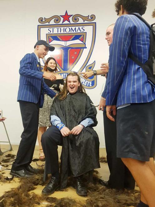 GREAT CAUSE: Year 13 Gospel Spirituality leader Daniel Fogarty taking part in Shave for a Cure...