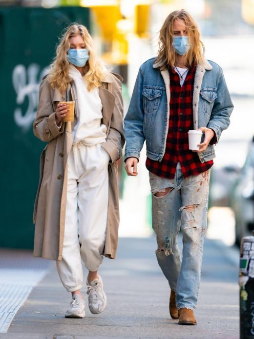 Swedish model Elsa Hosk wears sweatpants while taking a walk through New York City. PHOTO: GOTHAM...