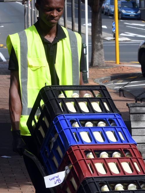 Qhawe Sibanda delivers essential Holy Cow milk to Taste Nature in Dunedin. PHOTO: STEPHEN JAQUIERY