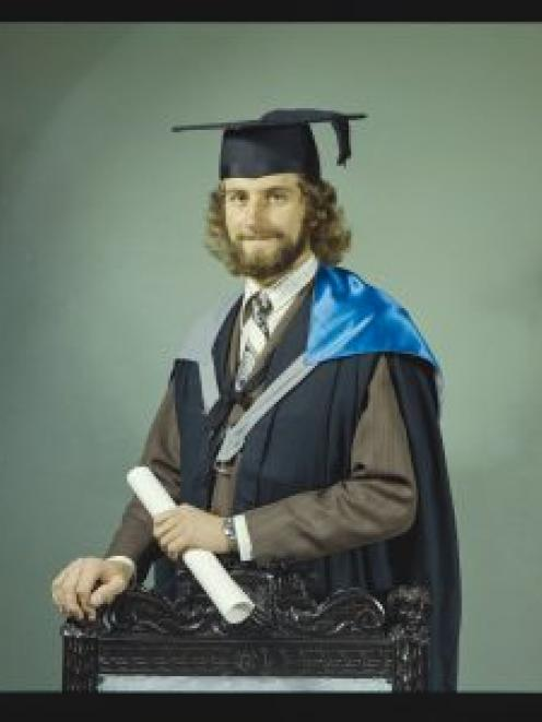 Max Alexander in his graduation regalia for a photograph taken by Standish and Preece in 1975....