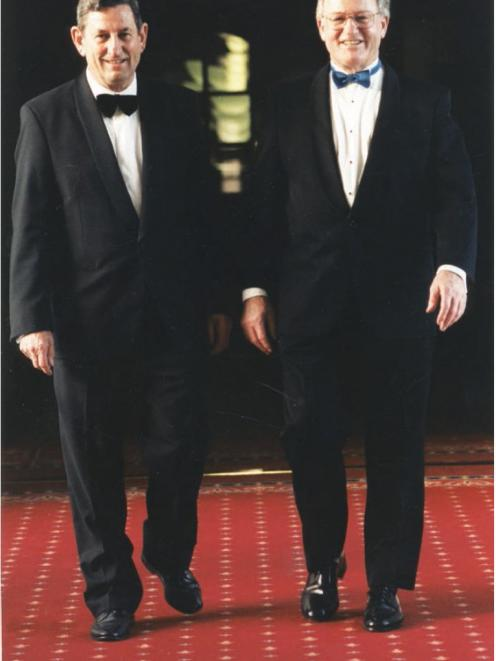 Bill Birch (left) with his friend  former Prime Minister Jim Bolger at a 1992 function...