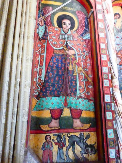 Archangel Michael depicted in an Ethiopian fresco in a monastery on  an island in Lake Tana.
