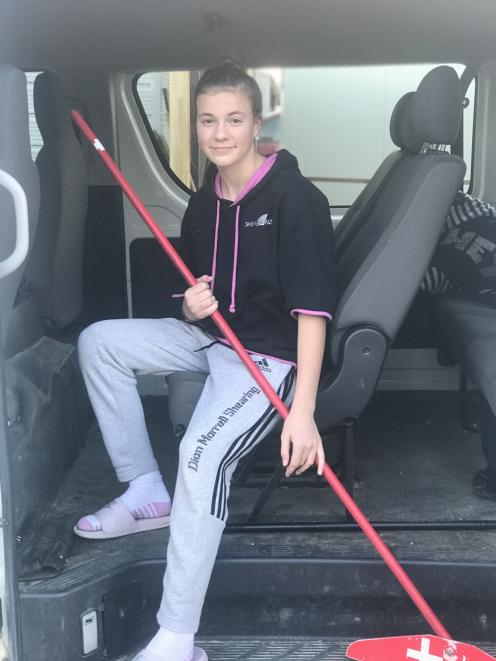 Winning woolhandler ... Charis Morrell, of Alexandra, is 14 and has already represented...