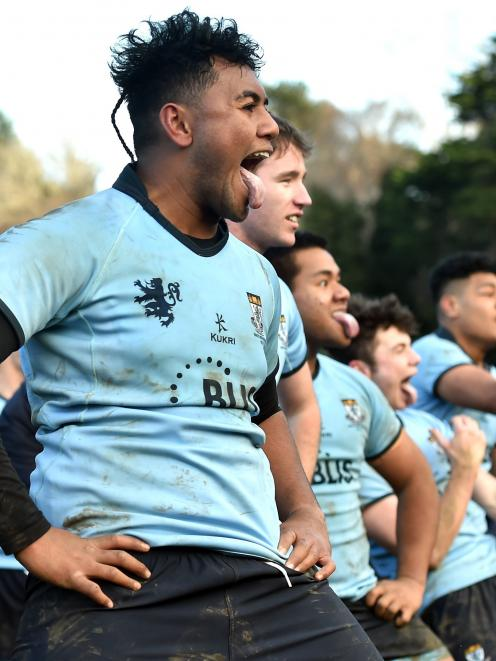 King's High School first XV player Ne'emia Vaiangina leads a haka after his side beat Otago Boys'...
