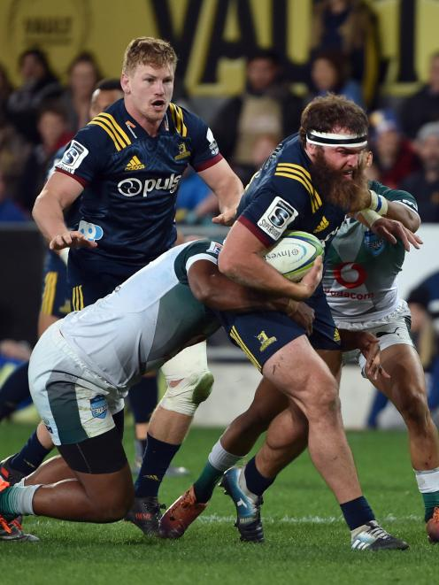 Highlanders hooker Liam Coltman on the charge against the Bulls earlier this month at Forsyth Barr Stadium.
