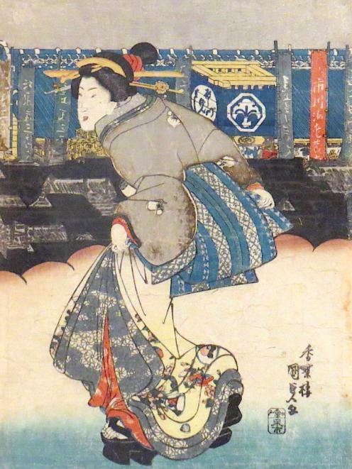 Beauty Strolling in the Theatre District, by Kunisada