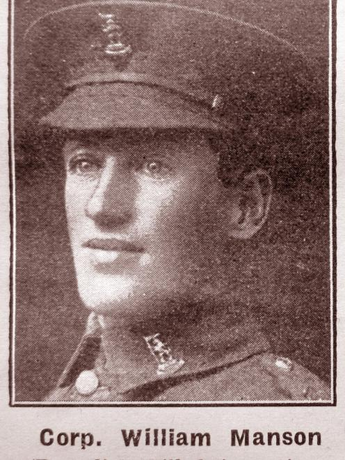 Corporal William Manson died five days before the Armistice was declared.PHOTO: SUPPLIED