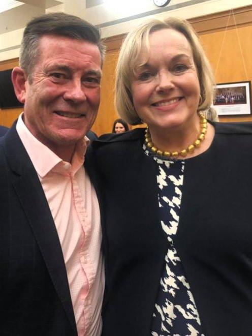 Michael Woodhouse with Judith Collins after Ms Collins was elected leader of the National Party...