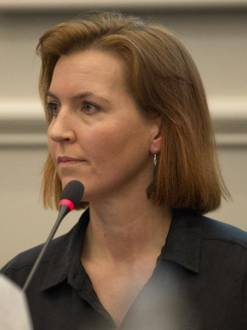 Big Stone Rd resident Sarah Ramsay speaks at the public forum yesterday. PHOTO: GERARD O'BRIEN