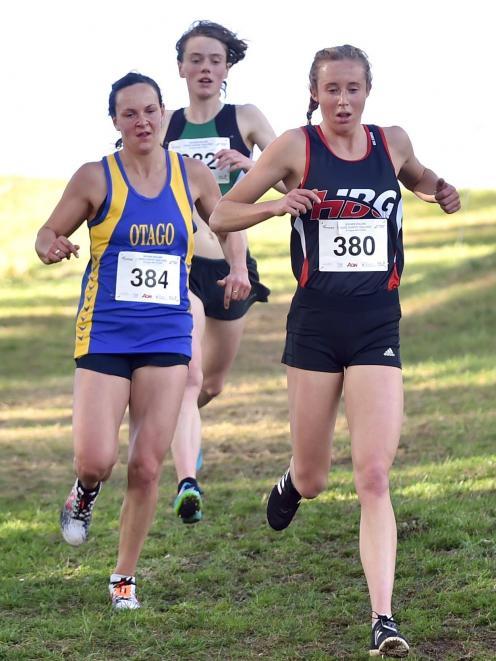 Fighting to win the senior women's race are (from left) Rebekah Greene, of Otago, Kara Macdermid,...
