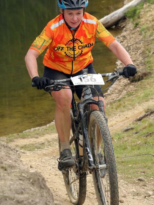 Triple world champion in extreme endurance mountain biking, Ronel Cook, of Dunedin, shows her...