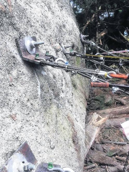 A huge boulder above Blueskin Rd, Dunedin, is restrained by cables. PHOTO: SUPPLIED