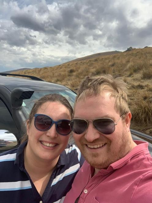 Margitta and Rob Roodnat with their Toyota Prado, which got bogged down, leaving them stranded in...