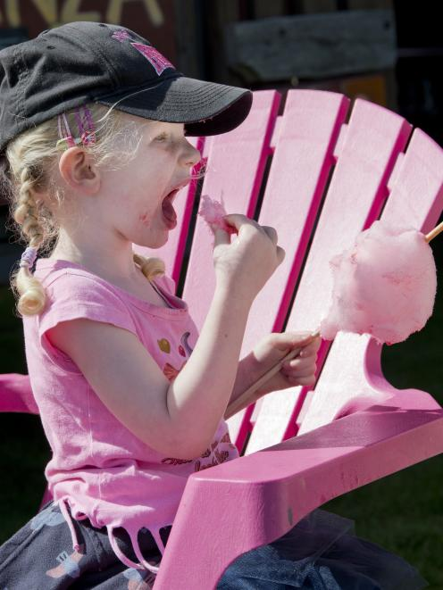 Eating candyfloss at the Extravaganza Fair is Georgia Dunning (3), of Dunedin.