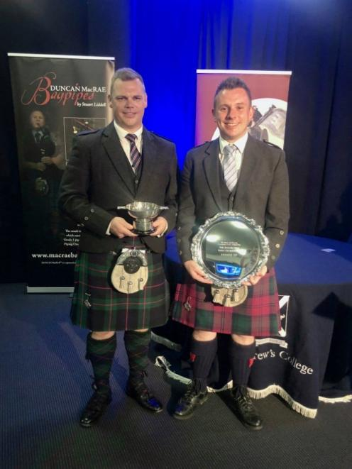 Champion pipers Stuart Easton (left) and Liam Kernaghan. PHOTO: SUPPLIED