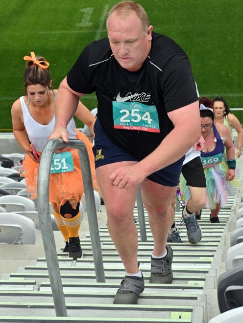 James Crutchley takes part in the My Step Up Challenge at Forsyth Barr Stadium in Dunedin...