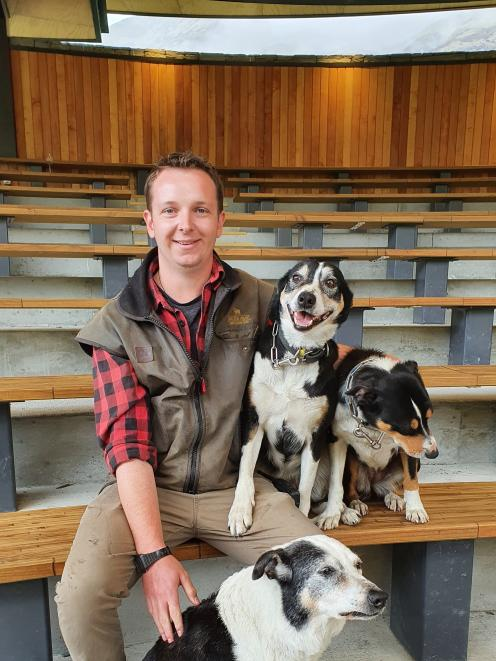 Walter Peak High Country Farm rural operations coordinator Peter Hamilton with his working dogs. PHOTO: MATTHEW MCKEW