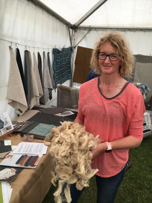 Cheviot farmer Lynda Dickson promotes wool at the Amberley A&P Show last month. PHOTO: DAVID HILL...